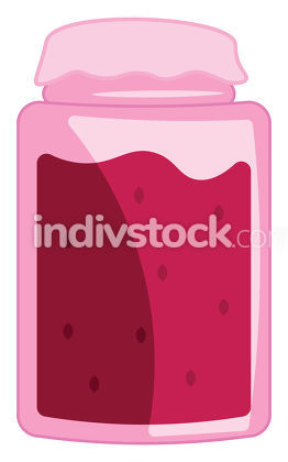 A glass filled with yummy red raspberry jam vector color drawing