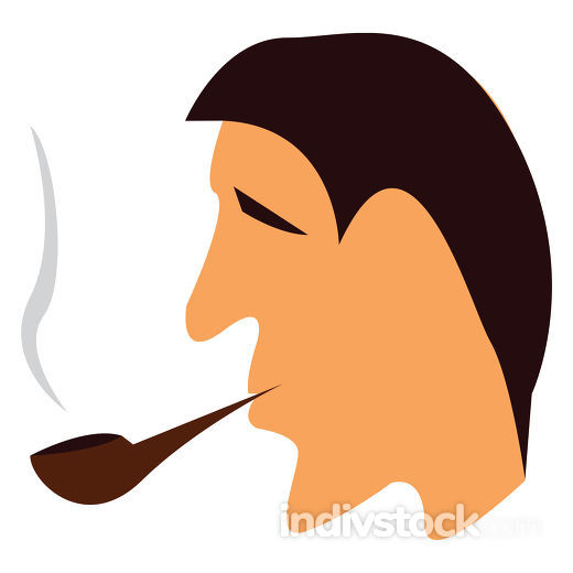 A man smoking pipe vector or color illustration