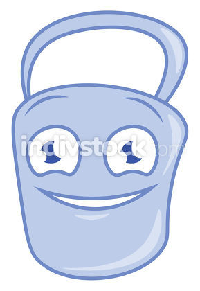 A smiling bucket vector or color illustration