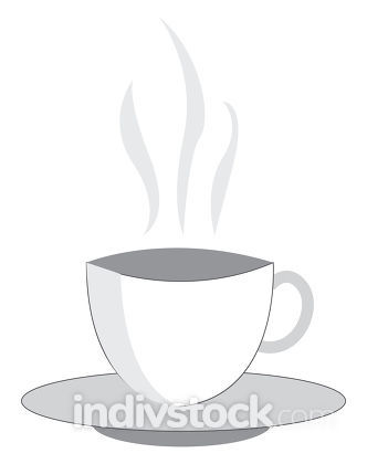 A white cup of hot beverage vector or color illustration