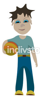 A young boy with a ball vector or color illustration