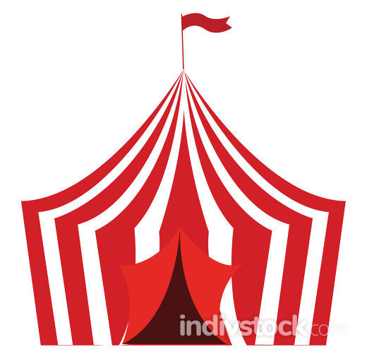 An elegant red-colored circus tent vector or color illustration