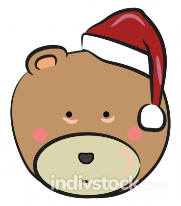 Bear with Christmas hat vector or color illustration