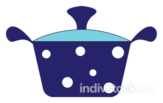 Blue pot with white polka dots