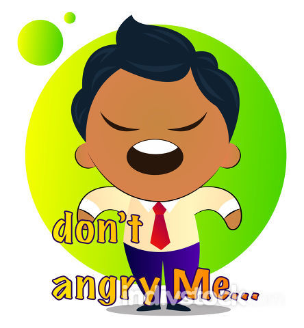 Boy in a suit with curly hair says don't angry me, illustration,