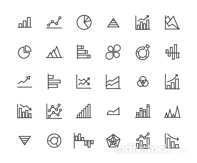 Business Graph Outline Icon Set.