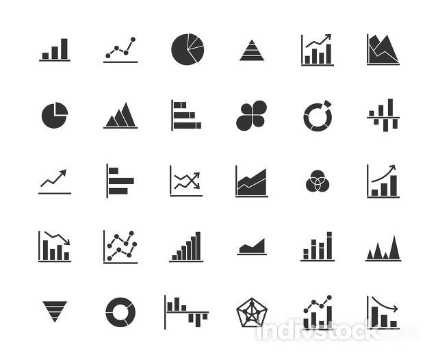 Business Graph Solid Icon Set.