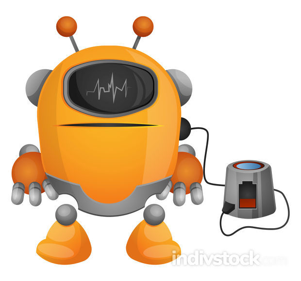 Cartoon robot on the charger illustration vector on white backgr