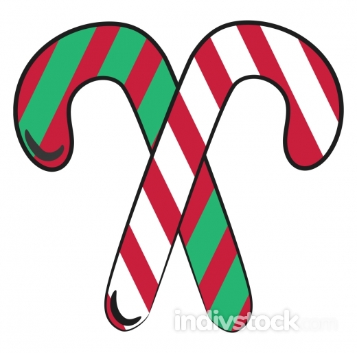 Christmas candy canes vector or color illustration