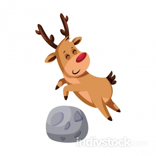 Christmas deer jumping over a rock vector illustration on a whit