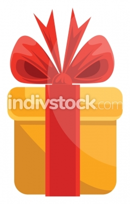 Christmas gift in yellow paper with red tie and bow vector illus