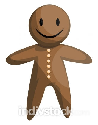 Christmas gingerbread man vector illustration on a white backgro