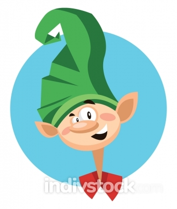 Christmas joker with big green hat inside blue circle vector ill