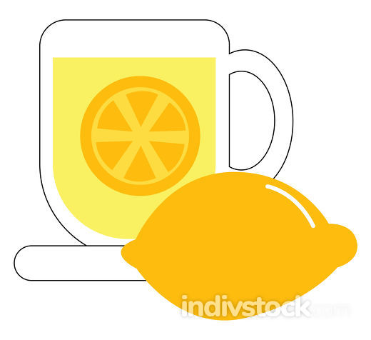 Clipart of a coffee cup filled with lemon tea vector or color il