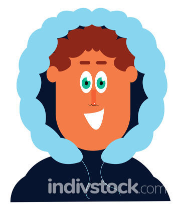 Clipart of a man in his winter blue jacket vector or color illus