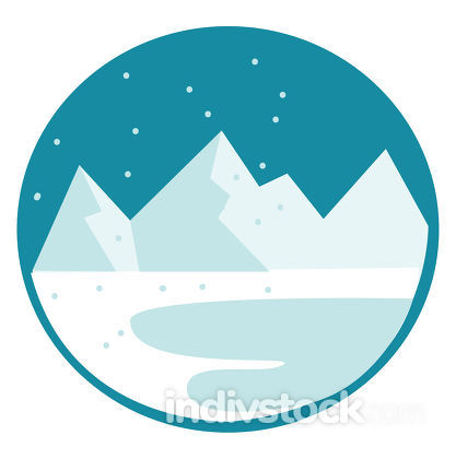 Clipart of a white snow-covered mountain range vector color draw