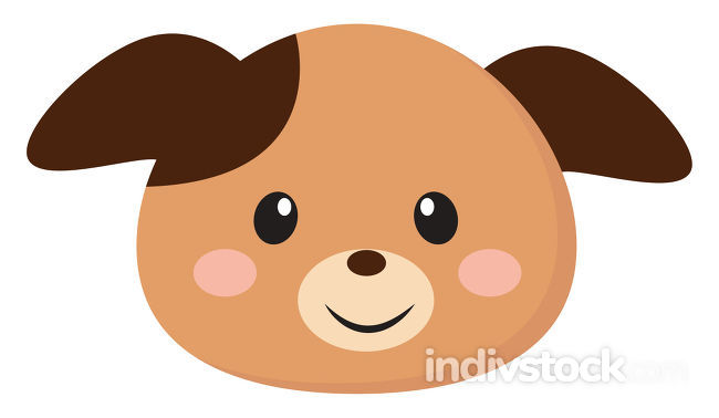 Clipart of the smiling face of a puppy, vector or color illustra
