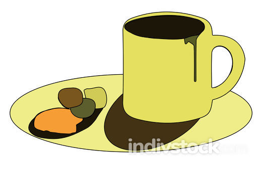 Clipart of yellow-colored coffee cup and saucer vector or color
