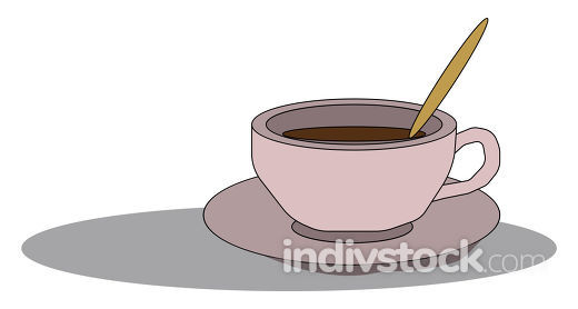 Coffee icon/Evening coffee time/Coffee cup and saucer vector or