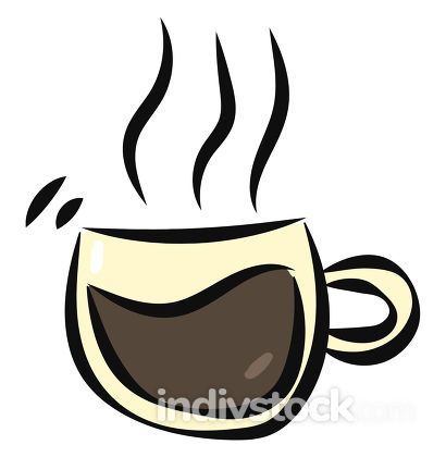 Coffee icon/Evening coffee time/Coffee cup with steaming hot cof
