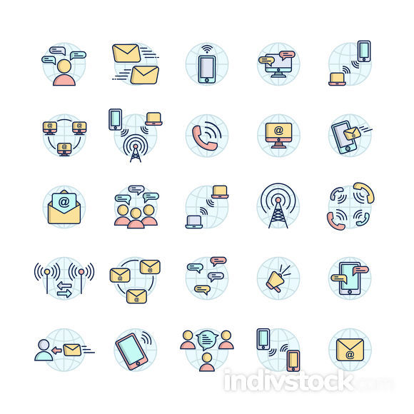 Communication filled outline icon set ,Vector and Illustration.