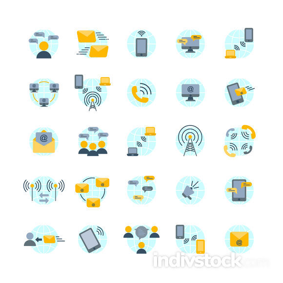 Communication flat icon set ,Vector and Illustration.
