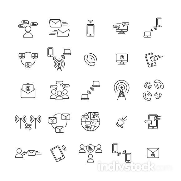 Communication outline icon set ,Vector and Illustration.