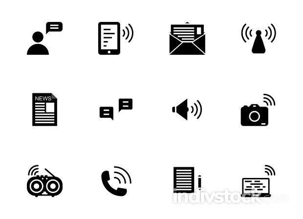 Communication solid icon set