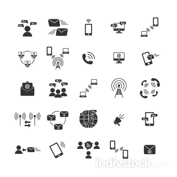 Communication solid icon set ,Vector and Illustration.