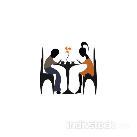 Couple in a Cafe vector or color illustration