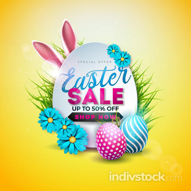 Easter Sale Illustration with Color Painted Egg, Spring Flower