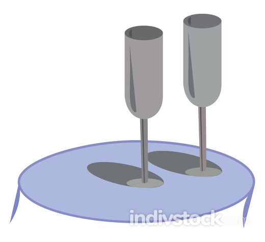 Elegant grey glasswares lying on a blue coffee table vector or c