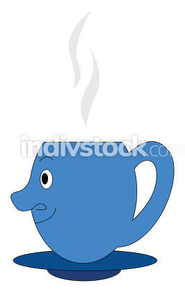 Emoji of a blue coffee cup viewed from the side vector or color