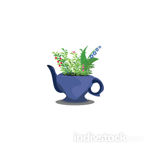 Flowers in teapot vector or color illustration