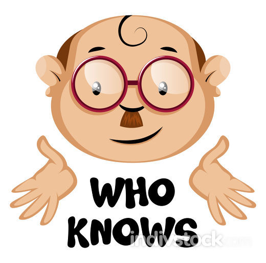 Funny human emoji with a who knows letters, illustration, vector