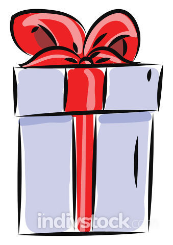 Gift box, vector or color illustration.