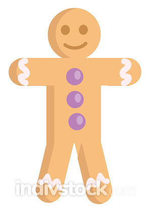 Gingerbread man smiling with purple buttons illustration vector