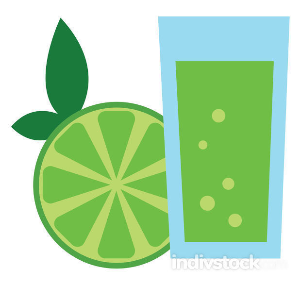 Green color juice, vector or color illustration.