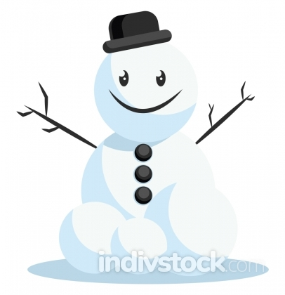 Happy snowman with black hat vector illustration on a white back