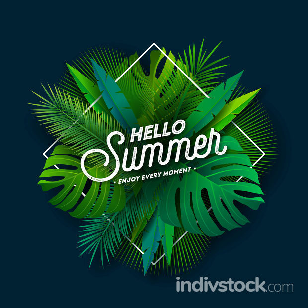 Hello Summer Illustration with Typography Letter