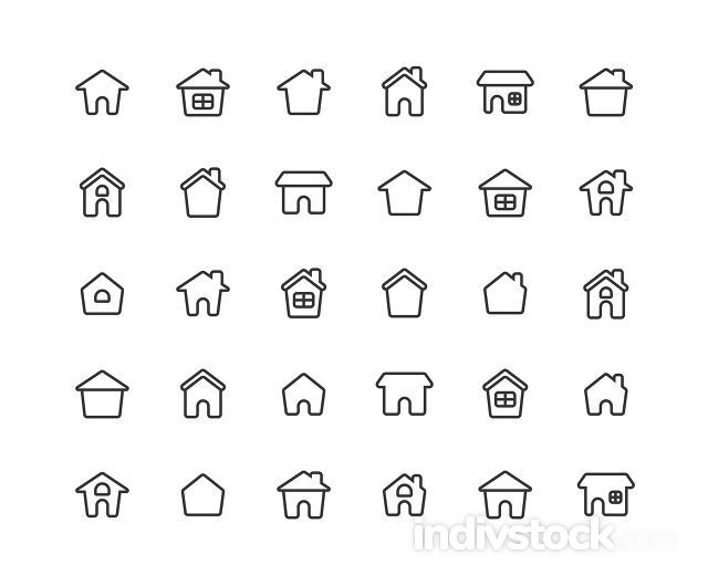 Home Ouline Icon Set on white background.