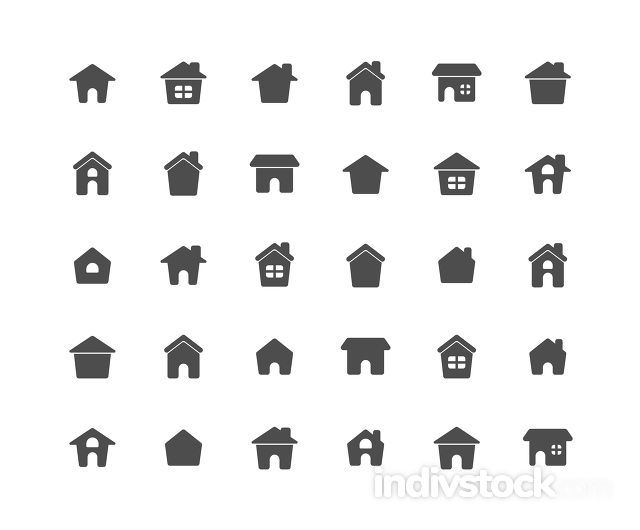 Home Solid Icon Set on white background.