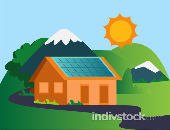 House in the mountain with solar panels illustration vector on w