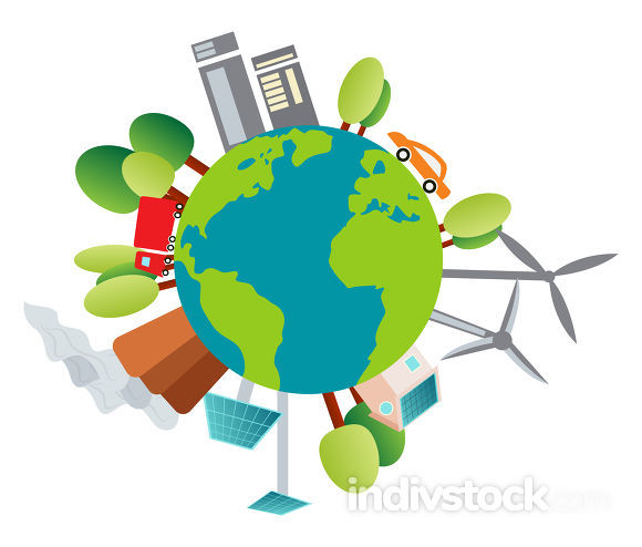 Illustration of our planet and it's environment illustration vec