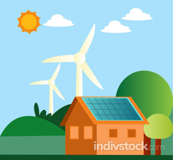 Illustration of windmill and solar panels on a house illustratio