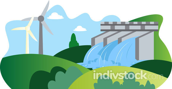 Illutration of windmill and hydroelectric energy as a eco source
