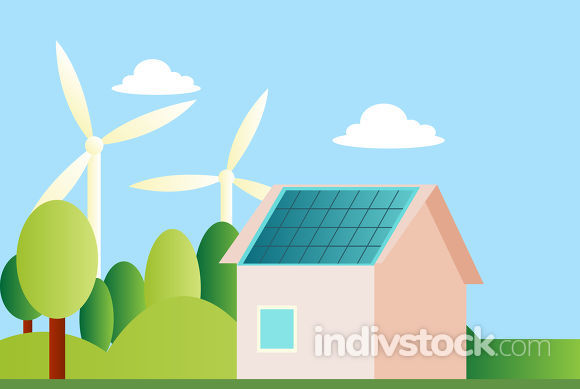 Ilustration of a sustainable house illustration vector on white
