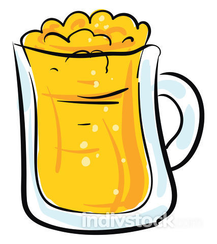 Image of beer in glass cup, vector or color illustration.