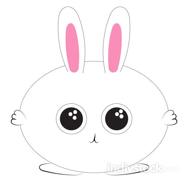 Image of chubby bunny - rabbit, vector or color illustration.