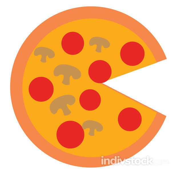 Image of pizza, vector or color illustration.